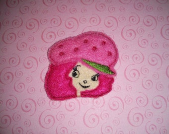 Set of 4 Strawberry Shortcake Felties Face Head Girl Feltie Felt Embellishment Bow! Birthday Party Planner Clip Hairbow Hair Bow Clips