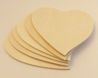 "FREE SHIPPING! 12 pieces Large 4 3/4"" x 3mm Unfinished Wood Hearts"
