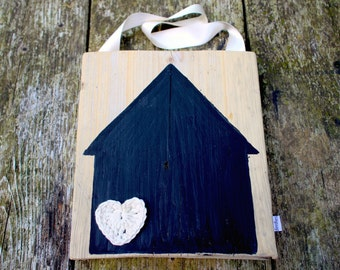 Krijtbord steigerhout 'Huisje'