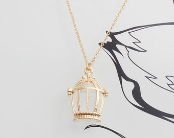 Gold Plated, Simple Bird Cage Charm, Necklace
