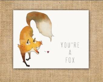 Valentines Day Fox Card