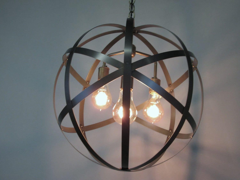Orb Foyer Lighting : Industrial orb chandelier ceiling light sphere