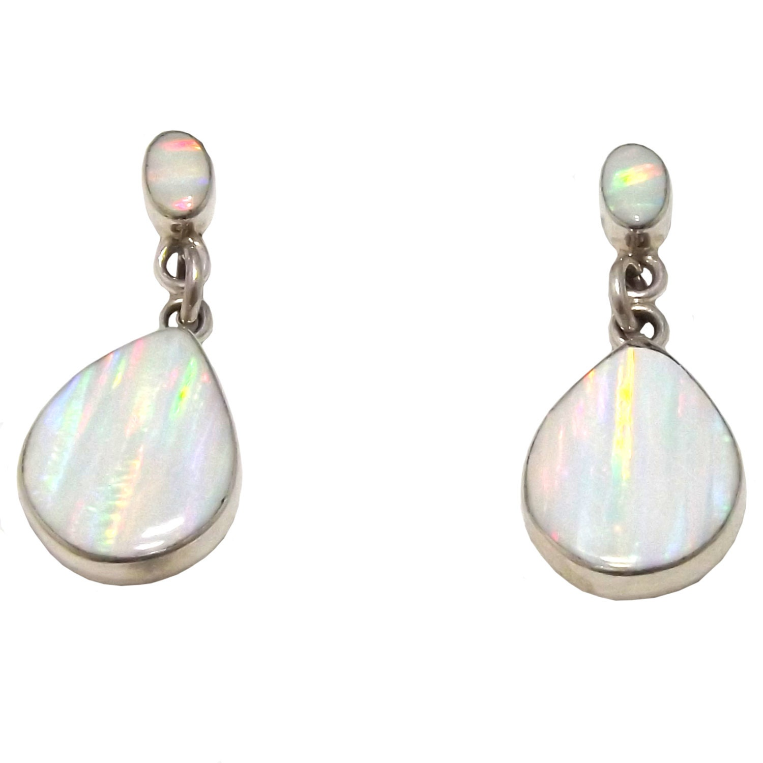 white opal drop stud earrings sterling silver