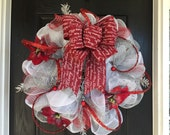 Silver and red deco mesh christmas wreath