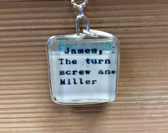 Reversible Library Card Necklace Henry James The Turn of the Screw and Daisy Miller