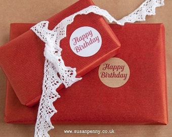 Happy Birthday Sticker 40mm (1 1/2in) Kraft Stickers, White Stickers, Envelope Seals, Labels, Parcel Stickers -  PSS063
