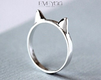 Sterling Silver cat ear ring,cat ring, kitty ring