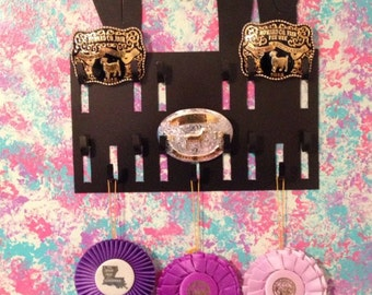 Belt Buckle Display Rack for Livestock and Rodeo Buckles: Perfect for 4-H, FFA, and Rodeo Competitors