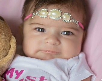 Newborn Pearl Headband Ivory Pearl Headband Pink Headband Going Home Outfit Infant Headband Baby Shower Gift