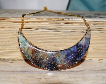 Crescent necklace , galaxy necklace , sparkly necklace , statement necklace