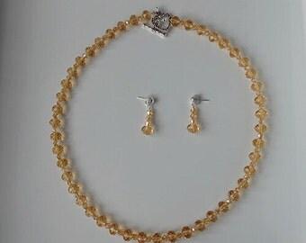 Elegant Swarovski Elements Champagne Crystal Necklace Set