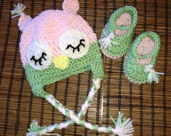 Owl hat and matching bootie