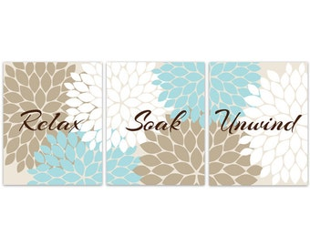 Relax Soak Unwind Bathroom Wall Art Canvas Blue Beige And Brown Bathroom Decor