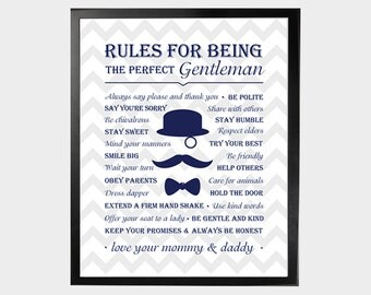rules for being the perfect gentlem an poster little gentleman baby