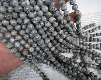 8mm gray picture jasper round beads, 15.5 inch