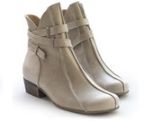 Sale! 40% off! Stone Gray Brie Booties. Women boots. Handmade leather shoes. Free shipping.