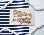 Wood postcard:whale & sperm whales