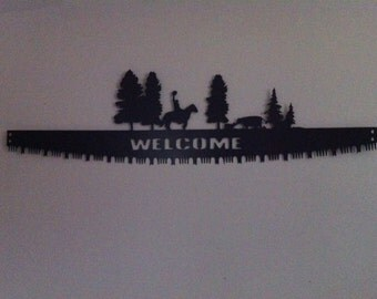 Welcome Cross Cut Saw Blade Hand Crafted Metal Cross Cut Welcome Saw Blade With Scene