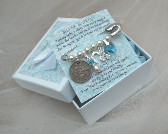 Wedding Gifts For Bride Something Blue : Wedding Bridal Charm Pin Bridal Shower Lucky Silver by ...