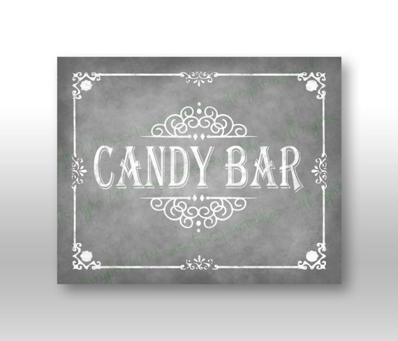 Printable Candy Bar Silver Wedding Sign DIY Download and