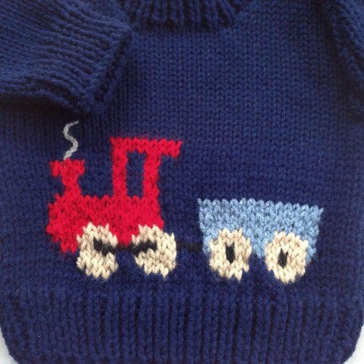 Knitting Pattern Train Sweater : Baby boy sweater Knit train sweater Baby train by LurayKnitwear