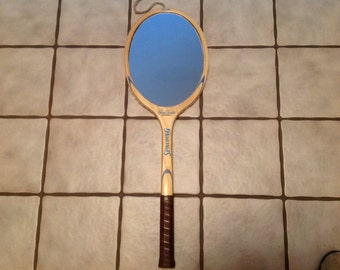 Vintage Wooden Tennis Racquet Mirror