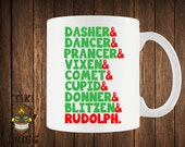 Funny Christmas Coffee Mug Reindeer List Rudolph Mugs Cup Gift Vacation Gift For Him Her Present Xmas Merry Santa Clause Holidays