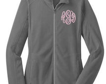 Monogrammed Womens Fleece- Sample shown as Grey with Light Pink Monogram-- zip up light weight fleece jacket with several color options