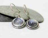 Rainbow Moon Stone Dangle Earrings, White Gemstone Earrings, Cute Earrings, Simple Earrings