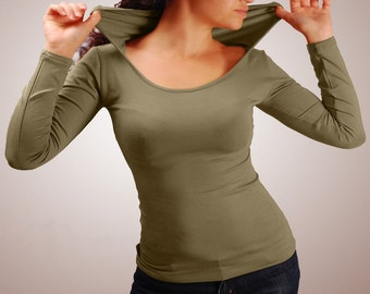 Eco-friendly top, Hooded top, long sleeve, yoga  fitness top, tribal top, activewear top