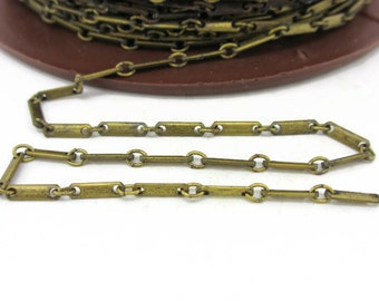 Vintage Solid Brass Link Bar Chain, 5 Feet