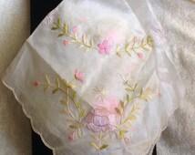 Vintage Silk Embroidered Hankie