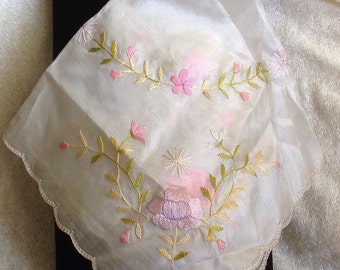 Vintage Silk Embroidered Hankie