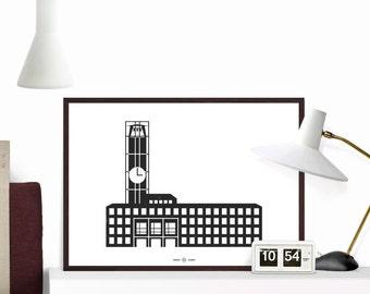 City Hall, iconic building in Aarhus, Geometric, Art 50x70, A1, Giclee