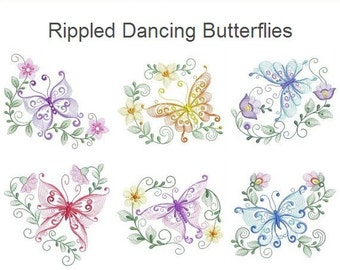Rippled Dancing Butterflies Machine Embroidery Designs Instant Download 4x4 5x5 6x6 hoop 11 designs APE2082