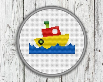 Funny Little Ship In The Sea Counted Cross Stitch Pattern, Needlepoint Pattern - PDF, Instant Download