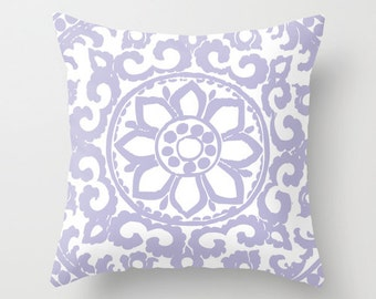 Flower Medallion Pillow Cover - Pastel Lilac - Abstract Flower Throw Pillow - Accent Pillow - Decorative Flower Pillow - Modern Home Decor
