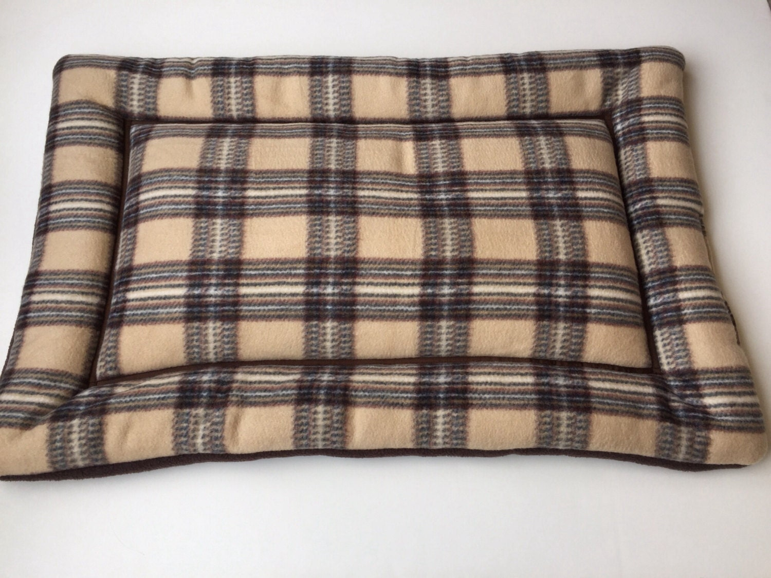 Fleece Dog Bed Dog Crate Pads Plaid Fabric Puppy Pad Large
