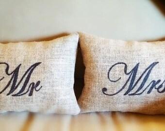 Burlap Mr and Mrs Pillows