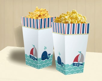 Nautical  Birthday Party Theme – DIY Popcorn Box Printable
