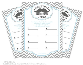 Little Man Mustache Name That Food, Baby Food guess Game Printable Card for Baby Mustache  Shower DIY Grey Blue Chevron - oz57bs25
