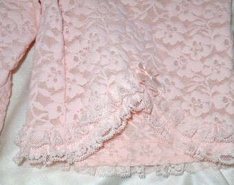 Vtg 50'S French Scandale Pristine Pink Floral Lace Panty Girdle With Garters S-M NOS