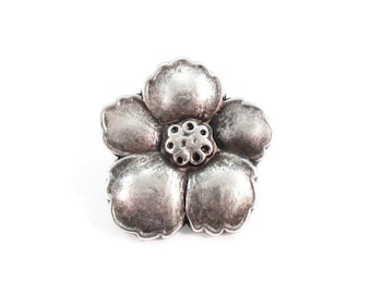 Hibiscus Flower Buttons Metal Shank 23mm Silver Qty 3
