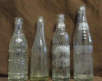 Vintage Beverage Bottles, Set of Four, 1950's or so