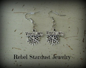 Game of Thrones Stark Winter is Coming Snowflake quote earrings