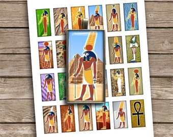 Egyptian Gods Domino Rectangular Images 1x2 inch Printable images Digital Collage Sheet - Instant Download