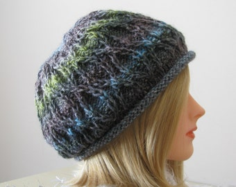 Knitted Hat, women's knit hat, Noro yarn. hand knit hat, womens winter hat
