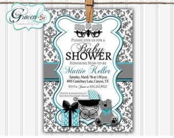 Baby Shower Invitation, Neutral Baby Shower Invitation, Printable Baby Shower Invitation, Damask Baby Shower Invitation