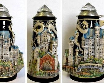 3d-Relief Bierkrug-Neuschwanstein with crystal lid-0, 7 Liter-German Beer Stein, Beer Mug