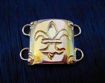 Gold Bonze Designer Domed Fleur De Lis Bracelet and Necklace Link (one) (A)